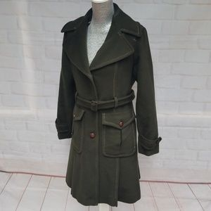 DKNY Wool/Cashmere Green Button Down Trench Coat